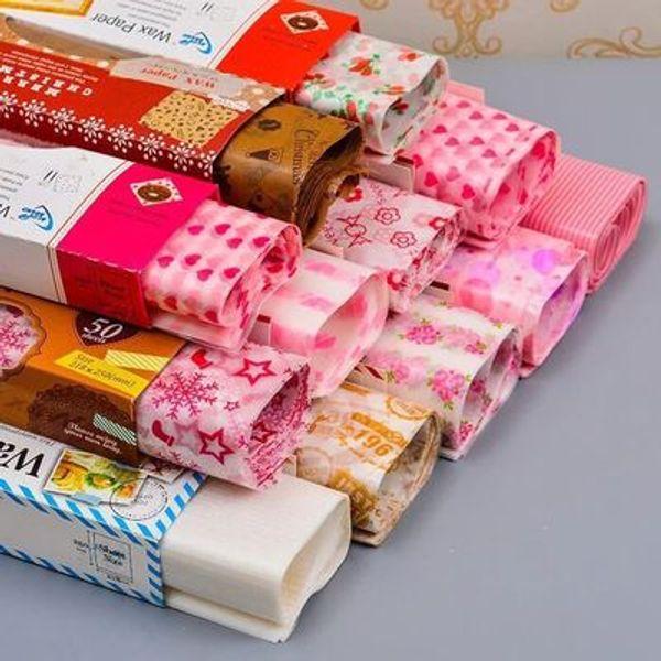 50 Folhas / Set Papel De Cera 25 * 21.8 cm Nougat sabão Hamburg Food Wrapping Papel Cozimento DIY Partido Home ferramenta lin4408