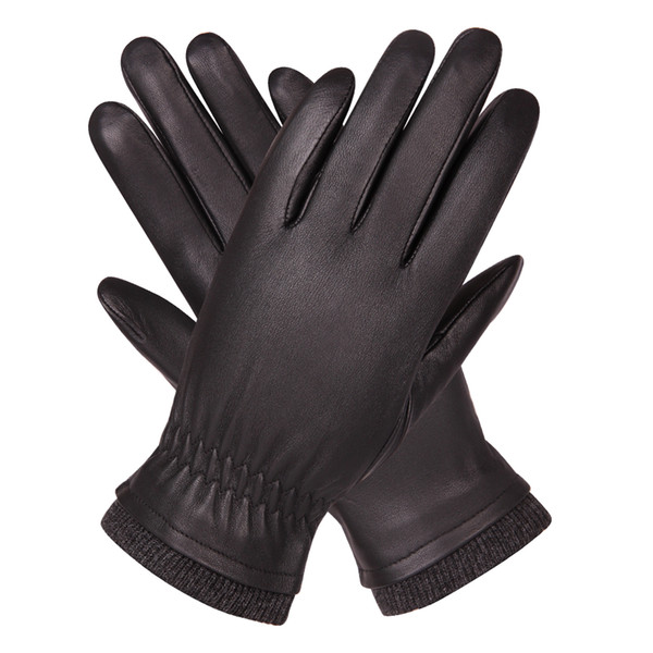 Genuine Leather Gloves Man Autumn Winter Plus Velvet Keep Warm Driving Windproof Waterproof Sheepskin Gloves Male M18004NC-9