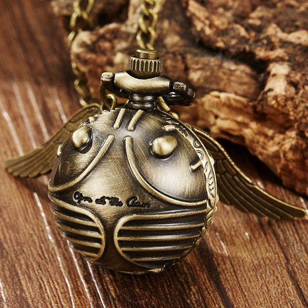 Vintage Harry Potter Wings Snitch Pocket Watch Necklace Bronze Cute Fob Chain Clock Pendant For Children Boys Potter Fans' Gift