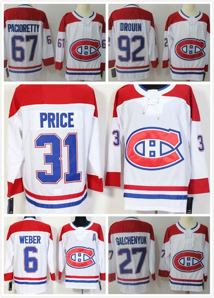 Herren Eishockey Trikots 2018 Montreal 31 Carey Preis 67 Pacioretty 92 Jonathan Drouin 11 Gallagher 27 Galchenyuk 14 Plekanec ROT WEISS