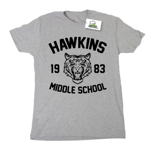 2018 Best T Shirts HAWKINS MIDDLE SCHOOL INSPIRED BY STRANGER THINGS PRINTED T-SHIRT Short Sleeve Crew Neck Fashion