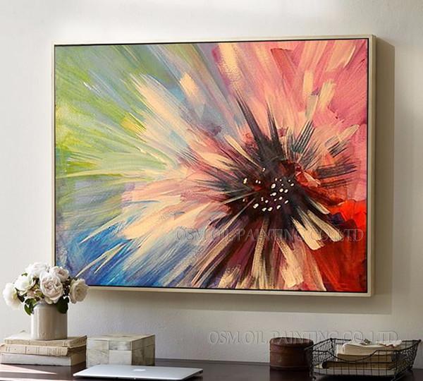Artiste professionnel à la main de haute qualité coloré abstrait fleur peinture à l'huile sur toile à la main sans cadre peinture à l'huile florale