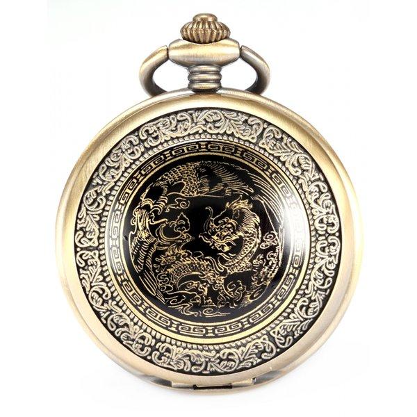 Nostalgic Classic Bronze Copper Craft Dragon Pendant White Dial Men Lady Fob Chain Quartz Pocket Watch Clock + Gift Box /WPK062