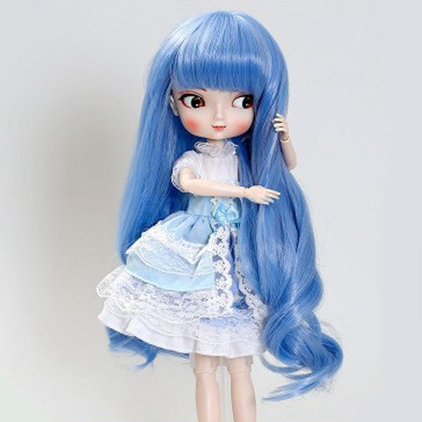 Spmart new arrivals Pink / Blue Wig Full Hairpiece for 1/6 30 cm 12 inch Scale BJD SD BB Girl Dollfies Kids Adults Play Toy