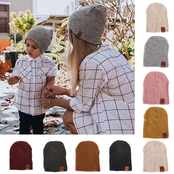 Mom&Me Fashion Women Cap Solid Color Head Baggy Warm Hat Skullies Crochet Winter Ski Beanie Skull Slouchy Caps for kid girl