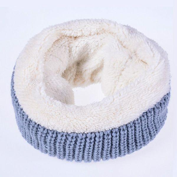 Anello invernale lavorato a maglia Sciarpa scaldacollo in lana Colletto solido Loop Snood Cerchio infinito Sciarpe Silenziatore Donna bufandas mujer blu