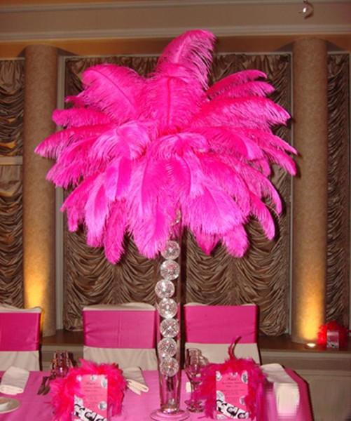 2020 100 pz / lotto 12-14 pollici (30-35 cm) piume di struzzo rosa caldo pennacchi piuma fucsia per centrotavola matrimonio decorazioni natalizie z134