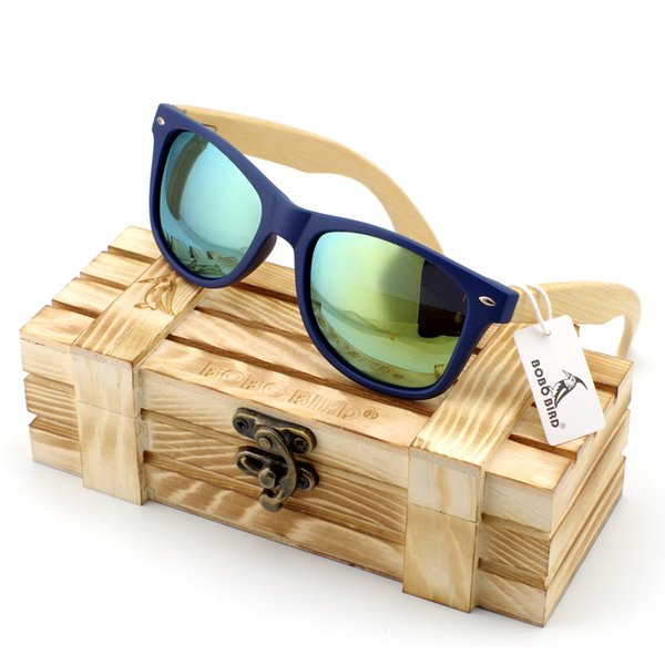 amboo wood sunglasses Men's Bamboo Wood Sunglasses in Vintage Style with Plastic Frame and Polarized UV Protection Colorful Lens In Gift ...