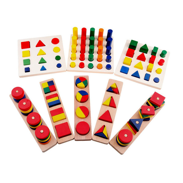 Montessori Materials Cylinder Wood Teaching Geometry Shape Kids Learning Factory Price Wholesale 8 pcs/1 sets Or more