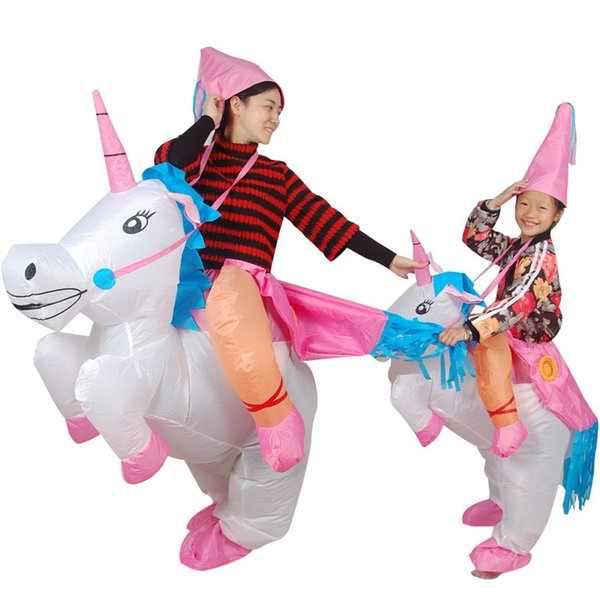 Inflatable Unicorn Costumes for Kids Adult Fancy Dress Ride Horse Suit Halloween Purim Carnival Party Boys Girls Outfit