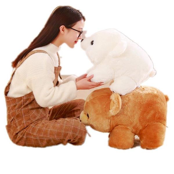 Dorimytrader Soft Anime Polar Bear Plush Doll Big Stuffed Cartoon White Bear Toy Animals Brown Bears Pillow for Baby 20inch 50cm DY61988