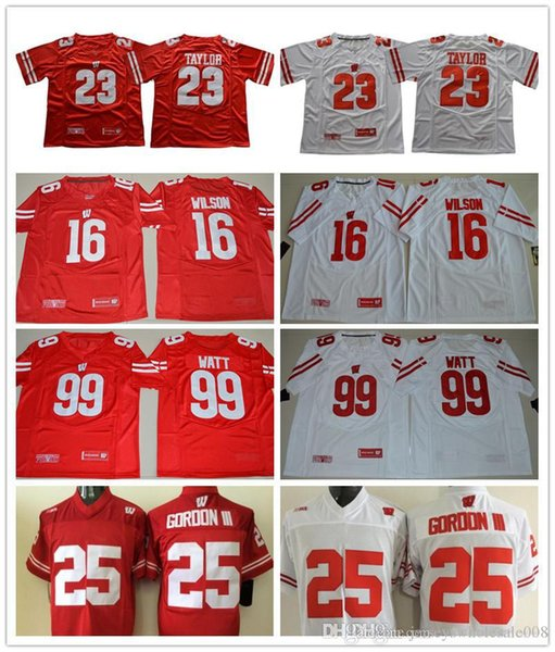 Men Jonathan #23 Taylor #25 Melvin Gordon #16 Wilson 99 Watt White Red Wisconsin Badgers College football jerseys