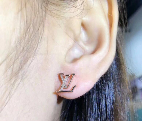 best selling 3 colors famous brands jewelry rose gold color plated designer earrings for women luxury best Christmas gift for ladies 2961