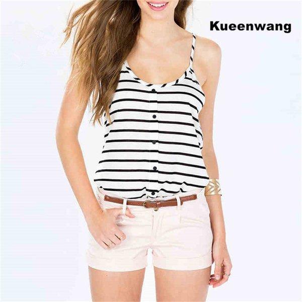 Kuuenwang kolsuz yelek en çok satan kadın ile tops tops bottun strappy haut femme şerit desen trendy t shirt kadın
