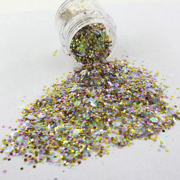 Light Golden Mix Size Nail Art Glitter Powder Hexagonal Sequins Dust Sheet Nail Glitter Manicure Craft Decoration