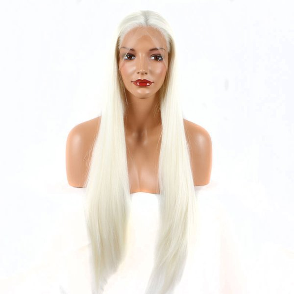 white blonde color #60 straight hand tied synthetic lace front wigs heat resistant fiber natural hairline for women