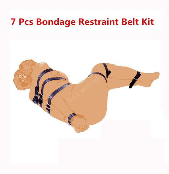 Vendita calda Nero Cuoio DELL'UNITÀ di elaborazione 7 PCS Full Body Fetish Bondage Dispositivo di ritenuta Diversa Lunghezza Cintura Bundled Cinghie Sex Toys