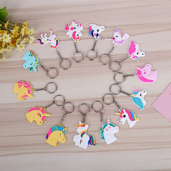 top popular Cute Fairytale PVC Unicorn Keychain Multi-style Horse Key Ring For Woman Girls Party Favor Gift ZA6679 2019