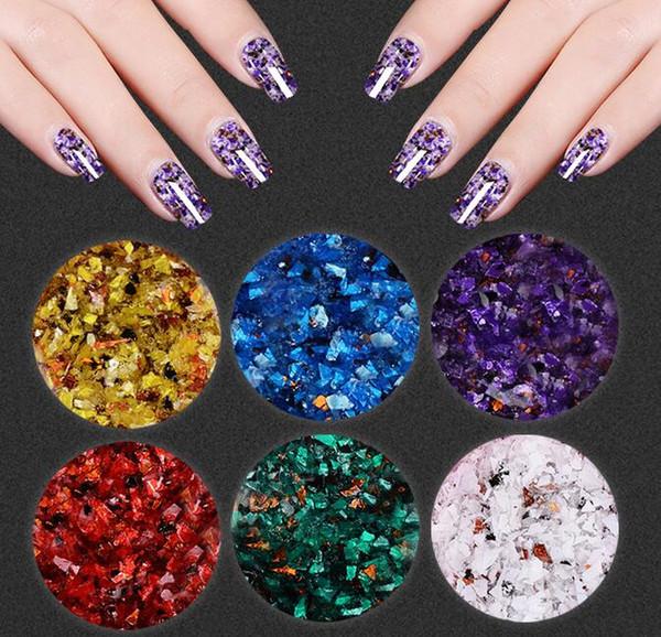 top popular 17 new nail polishing natural marble glue phototherapy nail polishing glue Kekou genuine fragments color glue environmental protection susta 2021