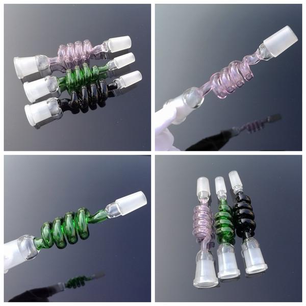 Neuheiten 15 cm Länge Spiralglas Adapter Farbige Adapter Joint 14mm 18mm Männlich Weiblich Adapter Für Glas Bong Wasser Ölplattformen SW50