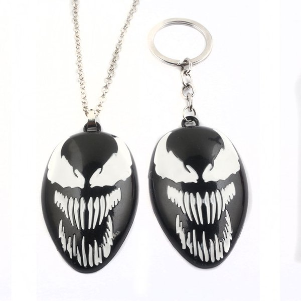 The Venom metal Key ring toy necklace spiderman keychain metal pendant black halloween xmas gift Game Accessories toys FFA982 50PCS