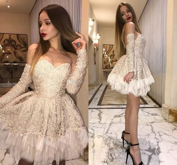 2018 Sexy Lace Short Prom Dresses Sweetheart Detachable Long Sleeves Cocktail Dress Tutu Champagne Short Party Dresses Custom Made Gowns