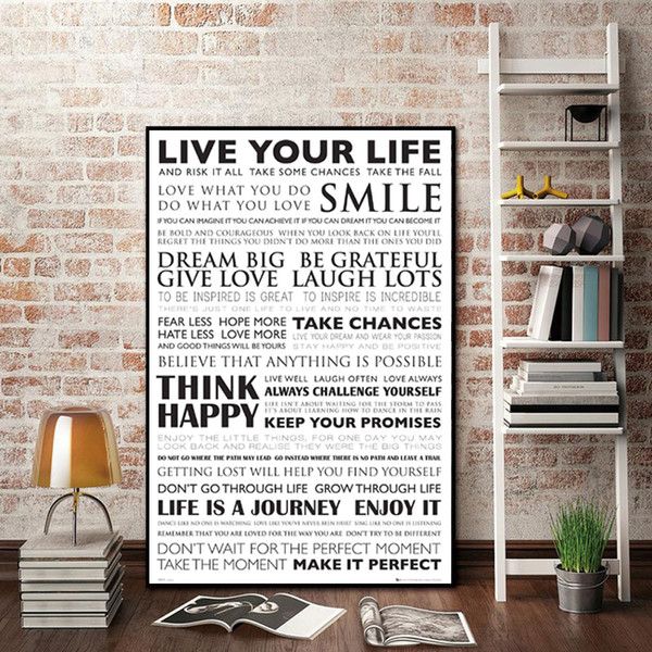 1 Panel Black White Motivational Life Quote Canvas Art Posters Canvas Prints Nordic Painting Wall Pictures for Living Room Home No Frame