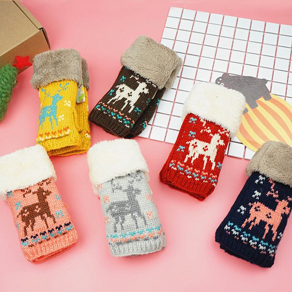 ASENYA Half finger Winter gloves double layer gloves women Christmas gifts for students deer and mouse design