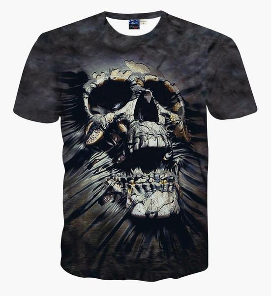New Arrival 3D Printed Skull Funny Women/Men T-shirt O-neck Short-sleeved Black Couple T-shirt Fashion Printing Terrified Patter