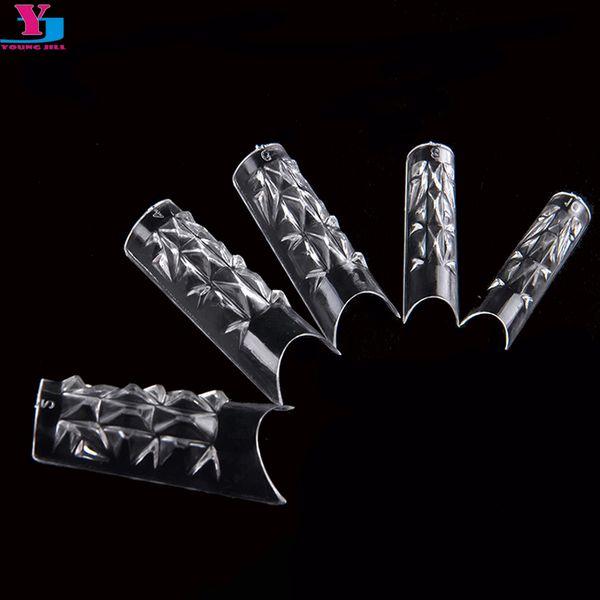 Cheap false chiodi di alta qualità Tips 500pcs Professional Professional French Fales Nails Glass Mosaic Clear Acrylic UV Gel lungo Unghie Finte strumento manicure