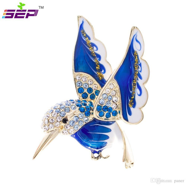 Wholesale- Hummingbird Brooch Animal Broach Crystals Rhinestone Pins for Women Jewelry Accessories Birthday Gifts 2493