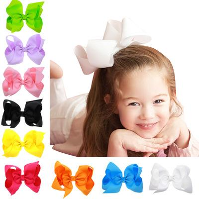 Big Hair Bows Boutique Large Solid Grosgrain Ribbon Hair Bow Clips Barrette Bow For Women Girls Accessories