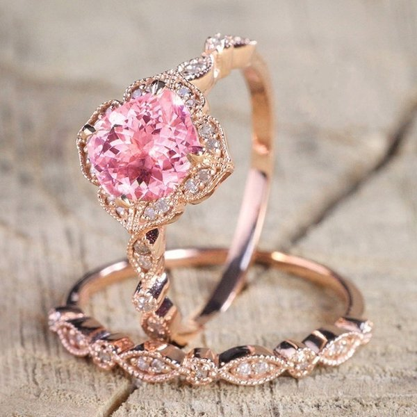 Fashion Rose Gold Natural Ruby Diamond Ring nupcial Compromiso de boda Anillo exquisito conjunto