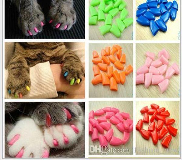 Renkli Kedi Tırnak Kapakları Yumuşak Pet Köpek Kediler Yavru Paw Pençeleri Kontrol Tırnak Yapıştırıcı Tutkal 20 adet Ücretsiz Kargo Ile Kapak Caps