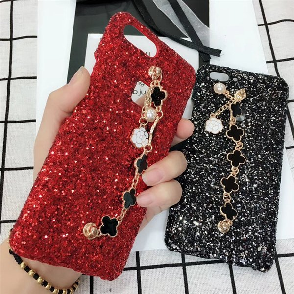 Premium bling Luxury Diamond Rhinestone Glitter Back Cover Phone Case For iPhone X 8 7 6 6s Plus Clover Phone Case