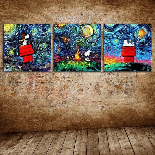 Snoopy Van Gogh,3 Pieces Canvas Prints Wall Art Oil Painting Home Decor (Unframed/Framed)