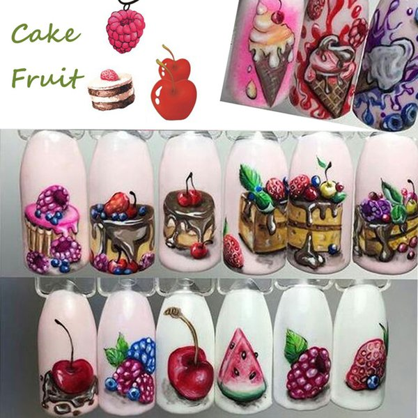 2018 New 18 Sheets/Set Cake Ice Cream Nail Sticker Colorful Fruit Women Girls Nail Decal Wrap Manicure Decor