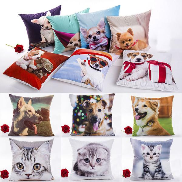 3D impression chat chien taie d'oreiller noël dessin animé housse de coussin maison canapé voiture décoratif housse de coussin sans noyau 40 style 45 * 45cm wx9-864
