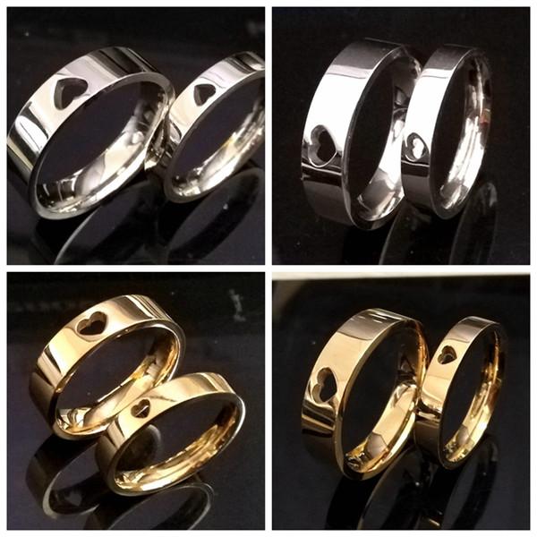 24pcs Gold Silber Mix 4mm 6mm Herz Liebhaber Ringe Paare Ringe Top Qualität 316L Edelstahl Hochzeit Verlobungsring Jubiläumsgeschenk