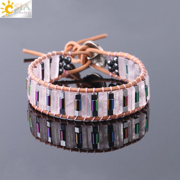 06127fd38 CSJA Women Fine Jewelry Boho Bracelet Tube Natural Gems Single Leather Wrap  Bracelets Semi Precious Stone