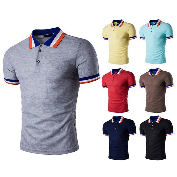 Designer de camisas de polo patchwork listrada polo camisas de verão solto estilo inglaterra tops mangas curtas respirável camisa casual para homens