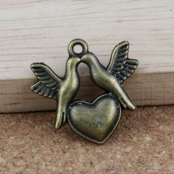 Pareja de palomas Colgantes del encanto 100 Unids / lote 21.8x21mm Joyería de Aleación de bronce Antiguo DIY Fit Pulseras Collar Pendientes A-317