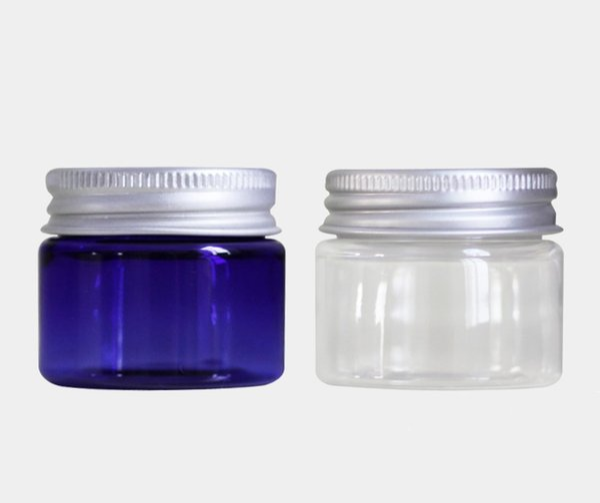 30g klare blaue Plastikcremetiegel 30ml kleine leere PET-Flasche mit Aluminium-Schraubverschluss Kosmetikverpackung