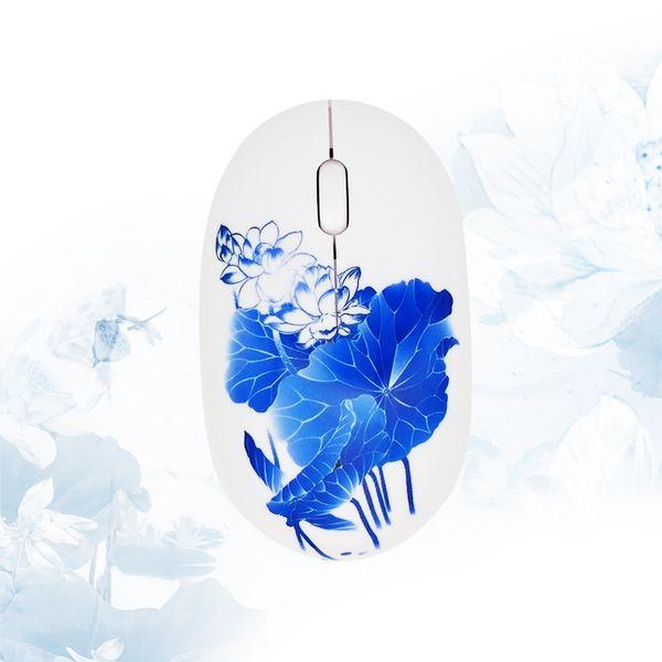 China del envío gratis China azul y blanca de loto regalo de 2.4GHz ratón inalámbrico personalidad del regalo regalo de ratón inalámbrico