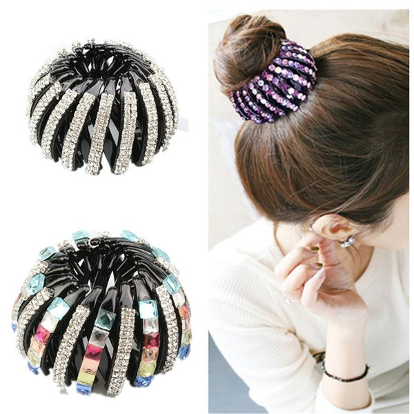 2 Size New Fashion Beautiful Crystal Rhinestone Ponytail Hair Ornaments Bud Hair Clip Hairpin Women Fashion Accessories