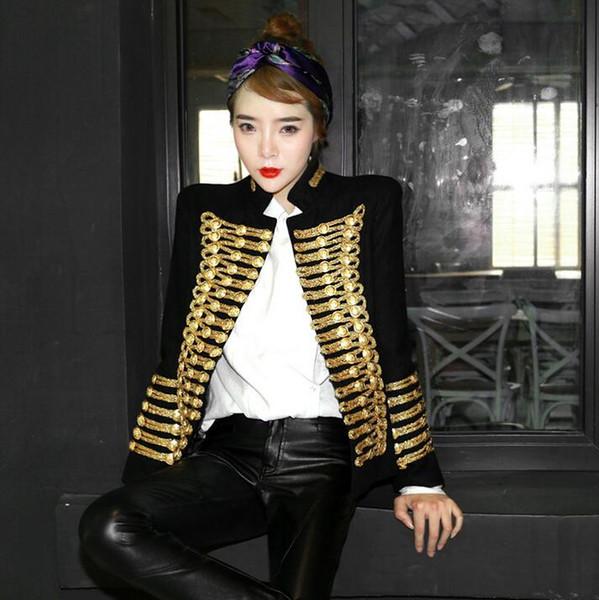 Women Wool Blend Double Breasted Military Uniform Jacket Coats Retro Black Gold
