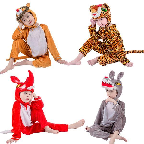 JinXuan Renard Loup Tigre Lion Ours Panda Enfants Enfants Adulte Animal Costume Combinaison Scène De Spectacle Fête
