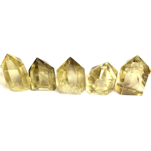 Hot sale! 5pcs Natural Citrine Quartz Crystal Wand Point Reiki Healing Natural stones and minerals as gift Free shipping
