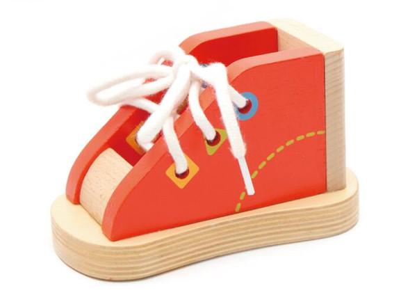 Deluxe Ahşap Ayakkabı Bağlama Ayakkabı Bağı Montessori Öğretim Yardımcıları Kravat Ayakabı Öğrenmek Oyunu Ince Motor beceri