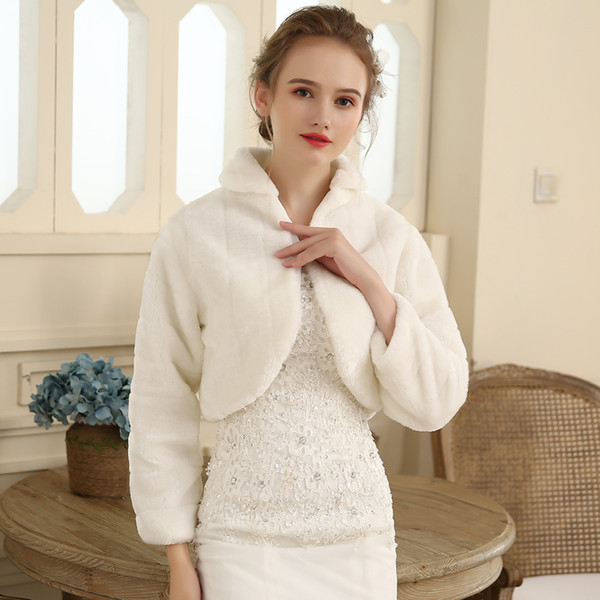 top popular 2019 Hot Sales! White Ivory Long Sleeve Faux Fur Bridal Wrap Bolero Stole Evening Winter Wedding Prom Coats Capes DH7236 2021